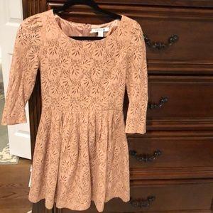 Rose gold lace 3 quarter babydoll dress